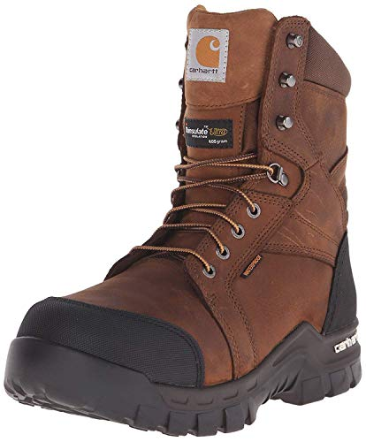 Carhartt Mens 8' Rugged Flex Insulated Waterproof Breathable Safety Toe Leather Work Boot CMF8389, Brown, 10.5 W US