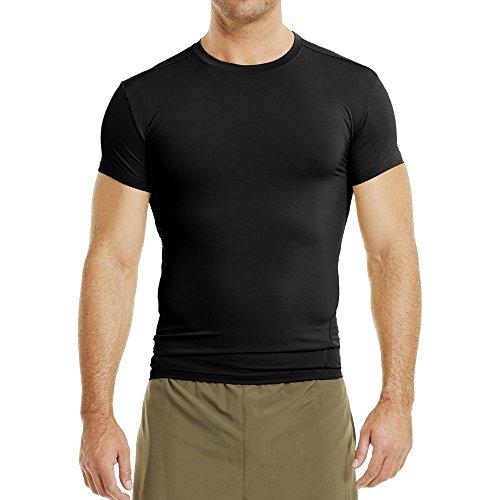 Under Armour UA TAC HG COMP T, schnelltrocknendes Sportshirt, kurzärmliges und elastisches Funktionsshirt Herren, Black / Clear , L