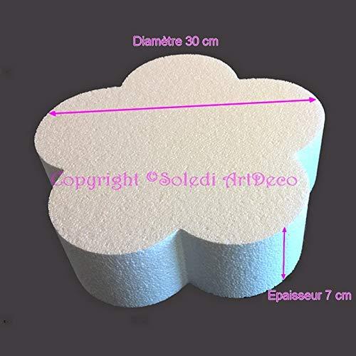 Lealoo sokkel, plat, bloemenvorm, van polystyrol, wit, diameter 30 cm x dikte 7 cm, 28 kg/m3, houder voor tafeldecoratie