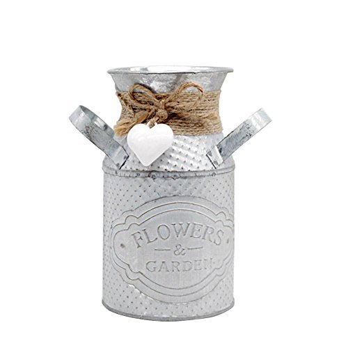 Goodtimera Rustikale Dekorative Vase, Retro-Blume Eisen Topf Shabby Chic Metall Krug Vase Gießkanne Blumen Bucket Home Decor sustainable