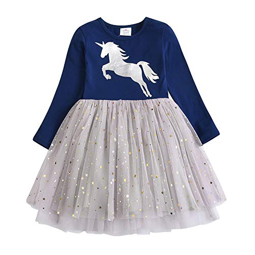 VIKITA Girls Dresses Princess Toddler Dress Flower Cotton Tulle Party Casual Outfits Clothing LH4580 6T