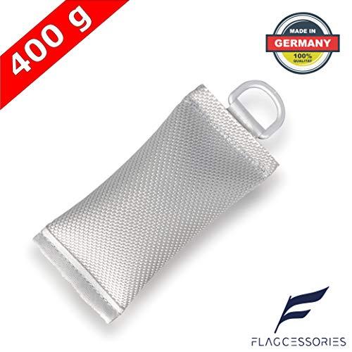 Flagcessories Premium Fahnengewicht 400 Gramm zur Fahnen Befestigung für Ihren Fahnenmast - Flaggen Beschwerungssäckchen/Fahnensack mit D-Ring robust und witterungsbeständig, Fahnenmast Zubehör