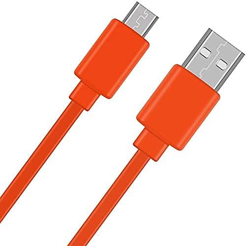 Adhiper-Cable de repuesto de cargador rápido Micro USB Cable plano Cable de alimentación de carga Compatible con UE Boom 22AWG Android JBL Flip 2 Flip 3 Flip 4 Altavoz (3.3 pies/naranja)