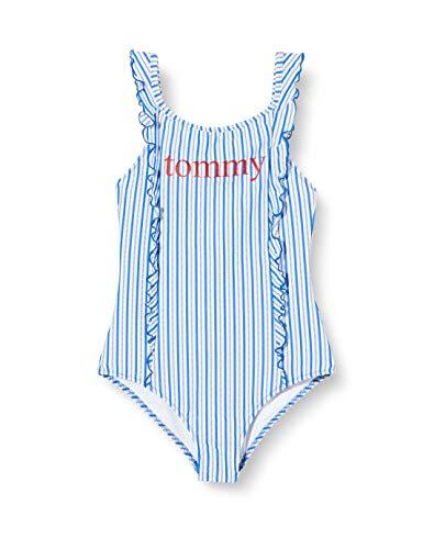 Tommy Hilfiger Mädchen One-Piece Bikini-Set, Blau (Seersucker Blue), 10-11 Jahre (Herstellergröße:)