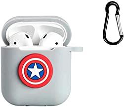 Haiyin Cartoon Design with Keychain Compatible for AirPods Case 2 & 1 Premium Silicone Protective Cover with Cartoon Logo (Captain America Grey)