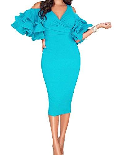 DressUWomen Cortar hombro Bodycon sólido entallado vestido rizado superior túnica para Mujers...