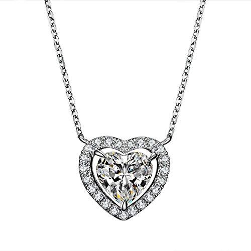 KnBob Weissgold 18K Halskette für Frauen Doppelte Herzen Zirkon Weiß Weiß Runde 0.39CT Diamant Schmuck Damen Modern 45CM