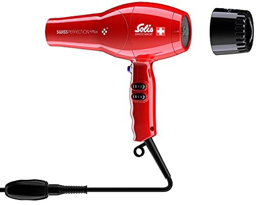 Solis Swiss Perfection Plus 3801 Föhn - 3 Temperatur- und 2 Gebläsestufen - Smart Silencer - Kaltluft-Taste - AC-Motor - 2300 Watt - Ionen Haartrockner - Rot