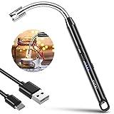 VLICHT Accendino Elettrico a Candela, Accendino Ricaricabile USB, Accendini Lunghi Flessibili a 360 ° Antivento Senza Fiamma con Pulsante di Sicurezza per Candele Fornello a Gas per Barbecue