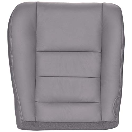 The Seat Shop Driver Bottom Replacement Leather Seat Cover - Medium Flint Gray (Compatible with 2002-2007 Ford F250 and F350 Lariat Crew Cab, and 2002-2005 Ford Excursion Limited and XLT)