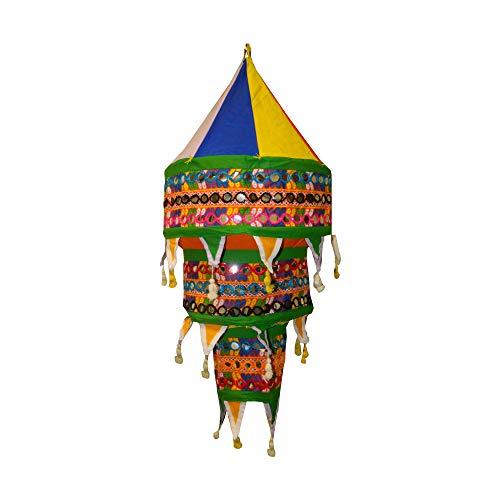 Indischer Lampenschirm bunt 75cm Multi-Spiegel Baumwolle Dekolampe Orient Hängelampe
