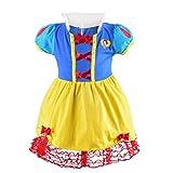 Lito Angels Vestido de Princesa Blancanieves para Niñas Disfraz de Halloween Cumpleaños Fiesta Ropa Verano Talla 2 a 3 años