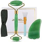 DigHealth Rodillo de Jade, Jade Roller Natural Con Herramienta De Raspar Gua Sha, Facial Masaje Piedra para Piel Que Aprieta, Antienvejecimiento, Circulación Sanguínea (Verde)
