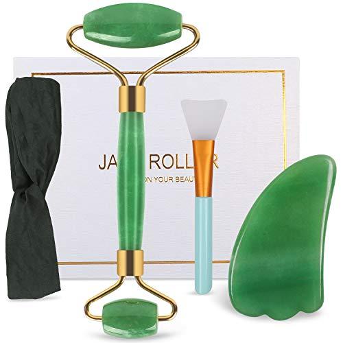 DigHealth Jade Roller und Gua Sha Schaber, Natürlicher Jade Gesichtsmassager Set für Anti Aging, Muskel Entspannung, Blutkreislauf, Halshaut Wangen Hautstraffung (Grün)