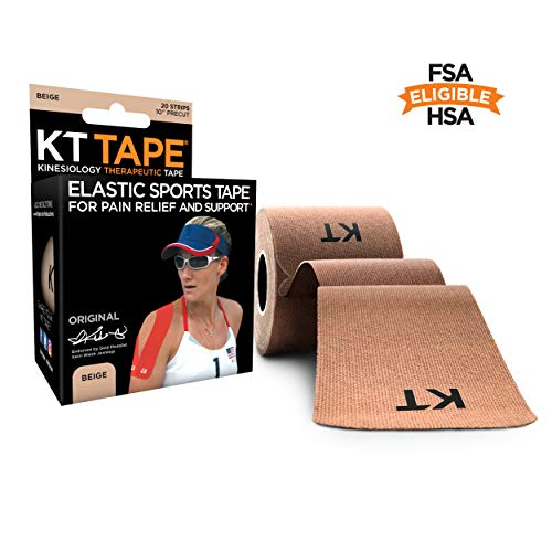 KT Tape Original Cotton Elastic Kinesiology Therapeutic Athletic Tape, 20 Precut 10 inch Strips, Beige, Latex Free, Breathable, Pro & Olympic Choice