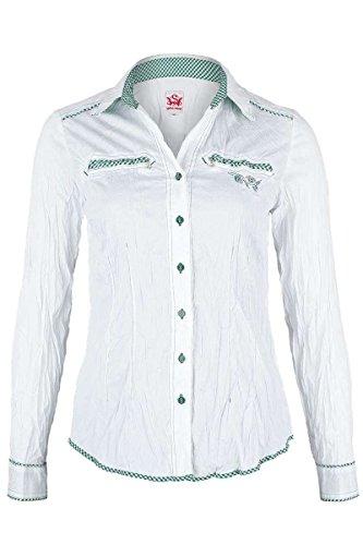 Spieth & Wensky Damen Bluse Crash-Optik weiß-grün, weiß-grün, 36