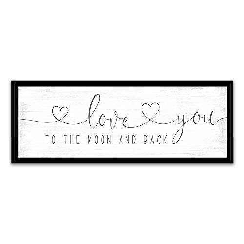 Wood Framed Sign 12x22'' Bible Verse Printable Wooden Prints Love You to The Moon and Back Sign Love You to The Moon and Back Decor I Love You to The Moon Back Frame Canvas Wall Art Print