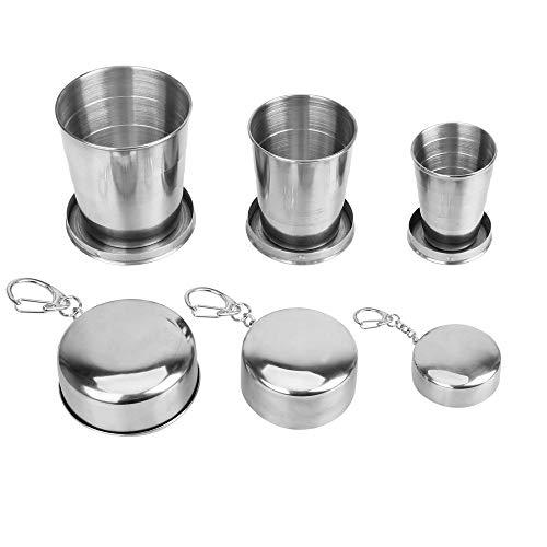 Zonster 3Pcs / Edelstahl Folding Cup für Outdoor Reisen mit Keychain beweglichen Wasser Trinkbecher einziehBären Teleskop zusammenklappBärer Cups Set