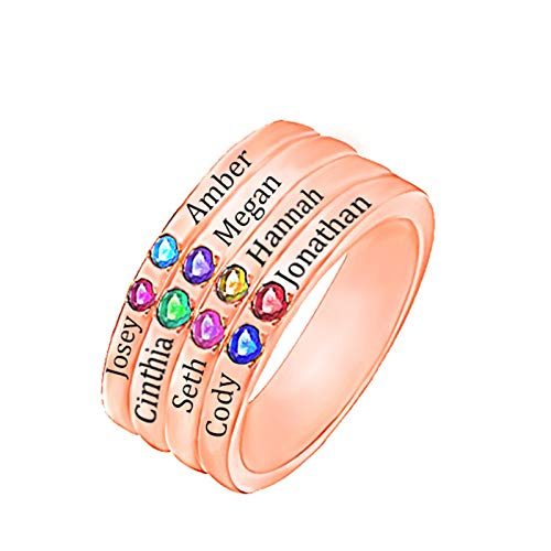 Customize 8 Name Rings Personalize 8 Birthstone Rings Family Rings Sterling Silver Rings Thanksgiving Gifts(18k Rose Gold Plated M 1/2)