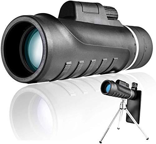 Bierglaks Telescopio monocular para adultos, 40 60HD de alta potencia resistente al agua con adaptador de trípode para observación de aves/camping/senderismo, telescopio monocular Starscope -