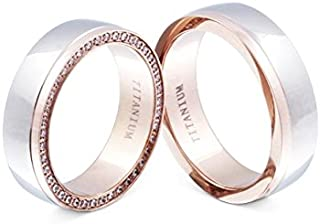Flame–Rings Titanium 2/Rose Gold Plated Cubic Zirconia At Least 36White Engraved Free T–HD