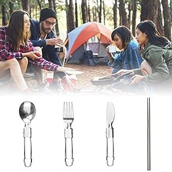 Couverts de Camping Pliable Couverts de Voyage Inox Couverts de Plein Air Légers Fourchette Cuillère Couteau Baguettes Vaisselle de Camping pour Extérieur Camping Randonnée Pique-Nique 6 Pièces