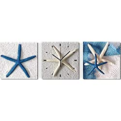 Wall Art Simple Modern 3 Piece Wall Clock - Square Home Decoration Canvas Framed Art - Beach Themed Painting with Starfish for Living Room (12 x 12)