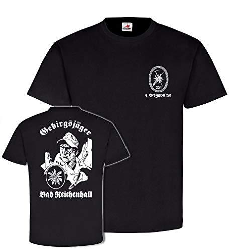 Copytec 4 GebJgBtl 231 Gebirgsjäger Bad Reichenhall Bundeswehr Gebirgsjägerbataillon Kompanie Reservist Edelweiß Abzeichen#21670, Farbe:Schwarz, Größe:Herren XL
