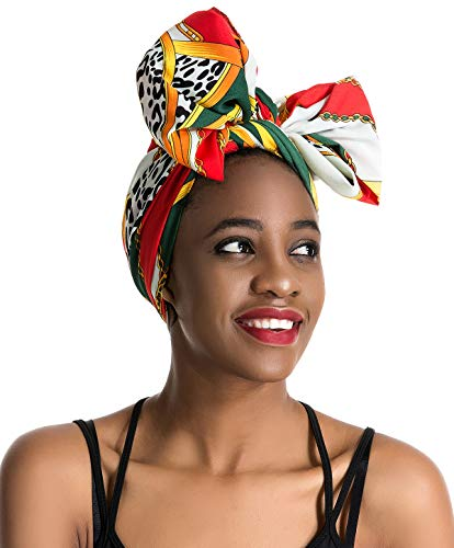 Women Head Wrap Scarf - 70' 28' Hair Wrap,Stretch Jersey Knit African Long Turbans Hat Hijab,Hair Ties,Hair Bohemian Boho Headband, Christmas Santa Day Gifts for Women