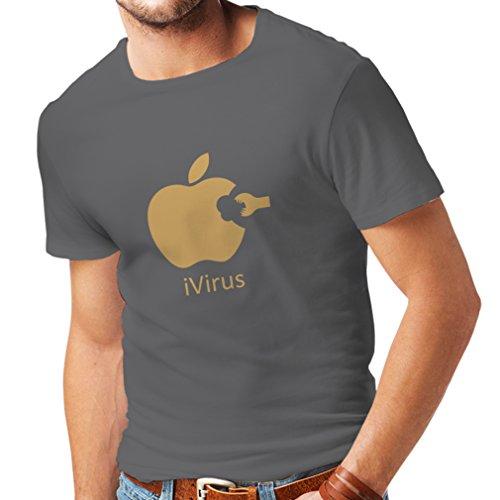 lepni.me Camisetas Hombre iVirus - Regalo Divertido del Amante de la Nueva tecnología (X-Large Grafito Oro)