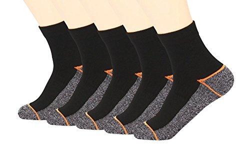Kupfer Antibakterielle Athletische Socken f¨¹r M?nner und Frauen-Feuchtigkeits-Docht, rutschfeste Kissen Kn?chelsocken, Schwarz/Orange-5 Pairs, Shoe M:34-44 EUR