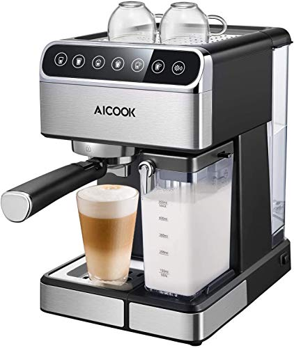 Aicook Kaffeemaschine, Espressomaschine mit Siebträger, (15 bar Dampfdruck, BPA-frei) Hause Dampf-Kaffeemaschine, für Espresso Cappuccino Latte(Large) [Energieklasse A+++]