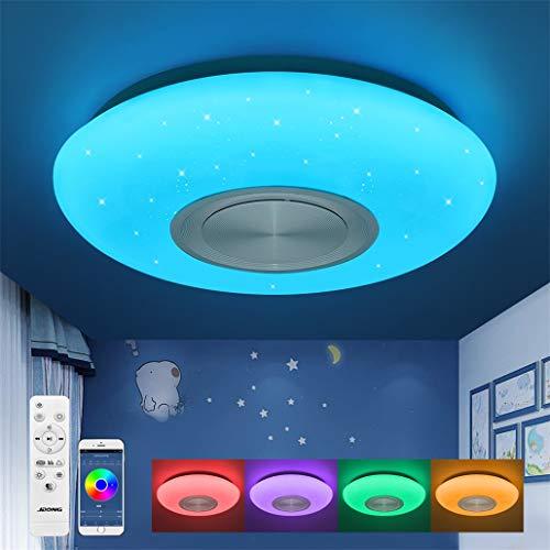 Bluetooth Deckenleuchte JDONG 18W LED Deckenlampe mit Lautsprecher, Fernbedienung und APP-Steuerung, RGB Farbwechsel, dimmbar, Sternen, IP44 Wasserfest für Badzimmer Schlafzimmer Kinderzimmer
