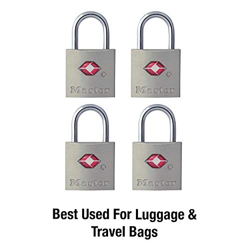 Master Lock 4683Q Keyed TSA Approved Luggage Lock, 7/8 in. Wide, 4-Pack