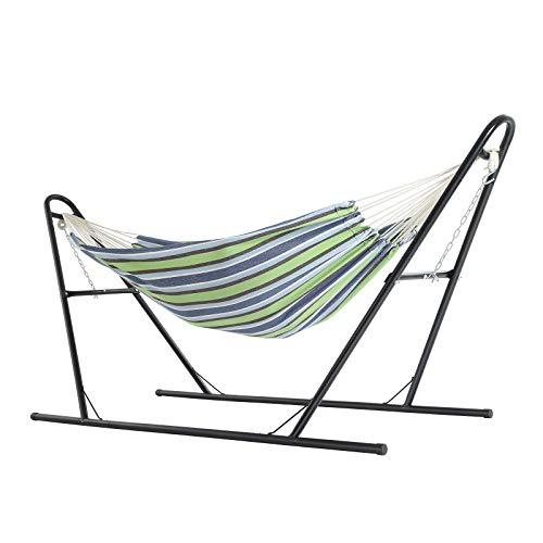 SONGMICS hangmat met standaard, dubbele hangmat op 210 x 150 cm, stevig ijzeren frame, met dubbele spoorbasis, verlengde voeten, draagvermogen 250 kg, tuin, buiten, blauwe en bruine strepen GHS11UC