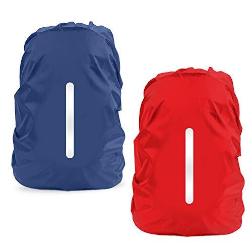 LAMA 2 Stück Wasserfeste Regenschutz Regenhülle Regenüberzug Regenhaube Regenabdeckung mit Reflexstreifen für Rucksack Schulranzen Schultasche Camping Radfahren Reisen L 41L-55L Rot + Dunkelblau