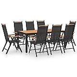 vidaXL Gartenmöbel 9-TLG. Gartengarnitur Sitzgruppe Sitzgarnitur Gartenset Gartentisch Gartenstuhl Tisch Stühle Esstisch Aluminium Schwarz