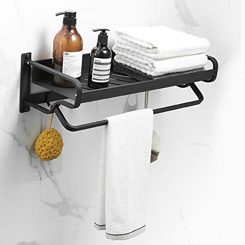 Rghfn Black Rack Space Aluminum Towel Rack Towel Rack Bathroom Shelf Net Blue Bathroom Hardware Pendant Black Nordic Style (Color : Tablet)