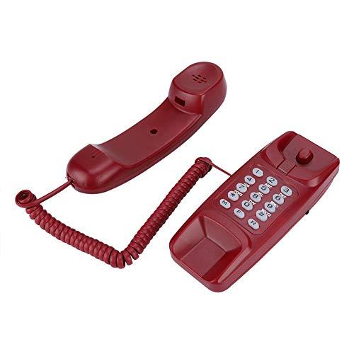 Ccylez Teléfono Fijo con Cable, teléfono Fijo de Montaje en Pared, extensión sin identificador de Llamadas Teléfono residencial para hoteles Familiares(Rojo)