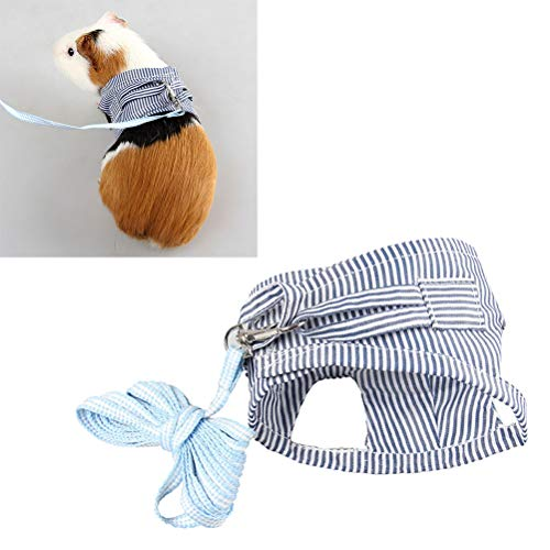 POPETPOP Guinea Pig Harness and Leash-Rabbit Harness Cotton Stripe Chest Strap Vest for Chinchilla Rat Squirrel Hedgehog Ferret Outdoor Walking Clothes-Size S (Blue)