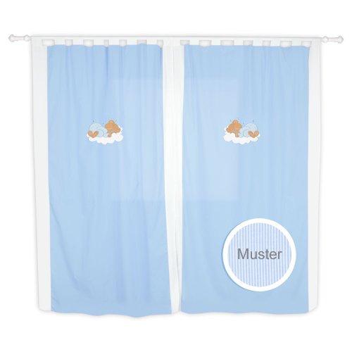 Babyzimmer Kinderzimmer Gardinen Vorhänge mit Schlaufen 5 Farben, Farbe:Blau