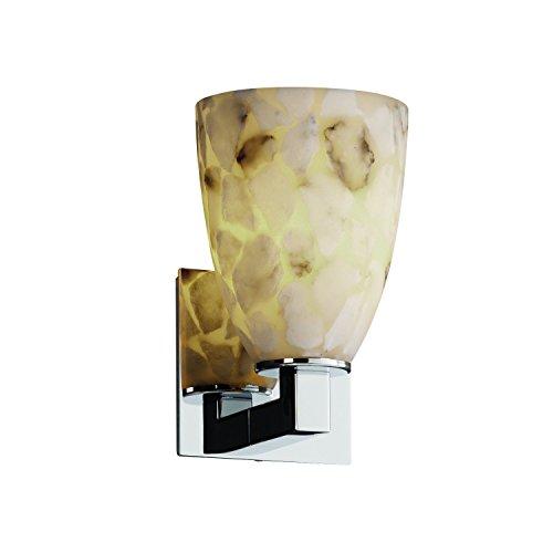 Justice Design Group Alabaster Rocks! 1-Light Wall Sconce - Polished Chrome Finish with Shaved Alabaster Rocks Cast Into Resin Shade