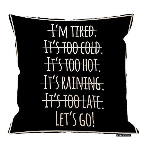 Funda de almohada motivacional con cita deportiva Let's Go!, algodón y lino, poliéster, decoración decorativa para el hogar, sofá, silla de escritorio, dormitorio, 45,7 x 45,7 cm