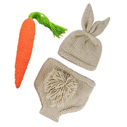 ifundom 3 Piezas Pascua Recin Nacido Accesorios de Fotografa Beb Conejo Tejido Disfraz Conejito Crochet Beanie Pantalones Sombrero Zanahoria Set Infantil Fotografa Trajes Accesorios