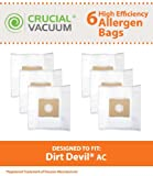 6 Highly Durable Dirt Devil Type AC Vacuum Bags; Fits Turbo Canister