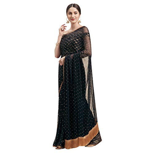 Womanista Women's Jacquard Georgette Saree with Blouse