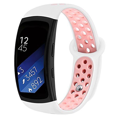 Kmasic Kompatibel Gear Fit 2 Pro/Fit 2 Armband, Silikon Bänder Ersatzband für Samsung Gear Fit 2 & 2 Pro Tracker- Weiß/Pink