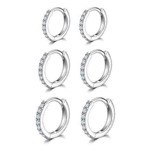 Cartilage Earring Hoop- Sterling Silver Small Hoop Earrings Cubic Zirconia Cuff Huggie Earrings Mini Hoops Earrings Piercing for Women Girls (8mm/10mm/12mm)