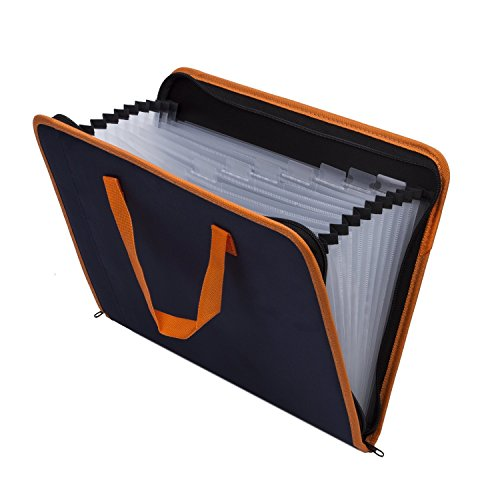 Expandable Portable Hand-Held Accordion File Document Folder File Organizer Canvas Zippers A4 and Letter Size 13 Pockets Blue