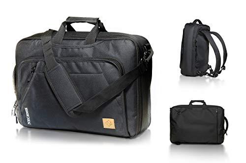 Necesse® Business Rucksack Herren (Schwarz) – Umwandelbarer All-in-One Backpack – Handgepäck Rucksack mit Laptopfach – Daypack für Arbeit und Uni
